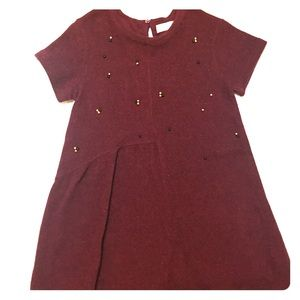 Zara Red Maroon Dress Girls Size 10  Beaded